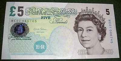 Mint Uncirculated Elizabeth Fry 2012 Five Pound Notes £5 Signed By Chris Salmon