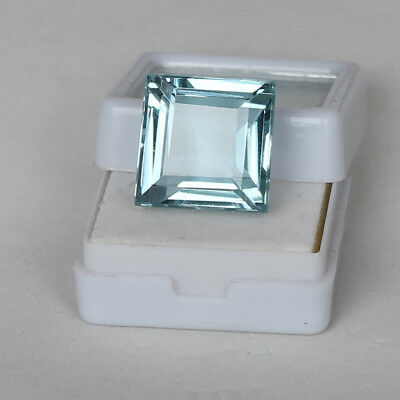 25.50 Ct. Natural Aquamarine Greenish Blue Color Square Cut Loose Certified Gem