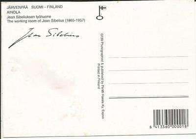 Postcard, Jarvenpaa, Finland, The Working Room Of Jean Sibelius, With Repro Sig