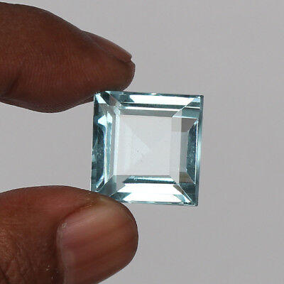 23.25 Ct. Natural Aquamarine Greenish Blue Color Square Cut Loose Certified Gem