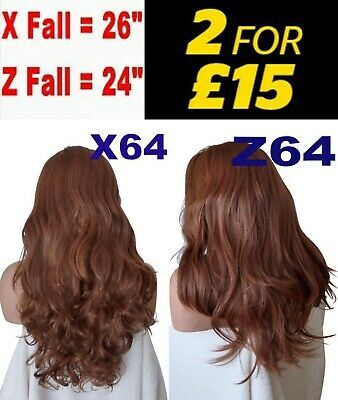 "24 OR 26"" MANGO COPPER Natural Long Curly OR Flick Layered Half Wig"
