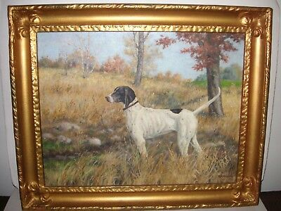Vintage original 1940s Ray Hayden hunting dog oil painting board English Pointer