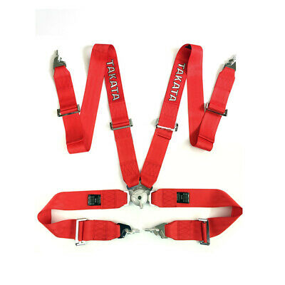 "Takata Race Seat Belt 4 Point FIA Approved Drift 3"" ASM Snap On Harness - Red"
