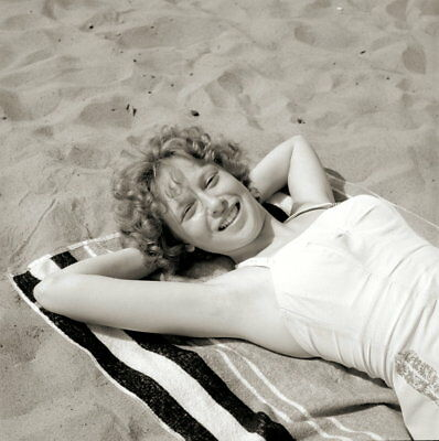 Vintage PRETTY BLONDE Negative 1950s BEACH POSE