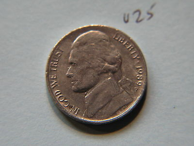 1989 P Nickel 5c Five Cent coin, Jefferson 5 cents USA
