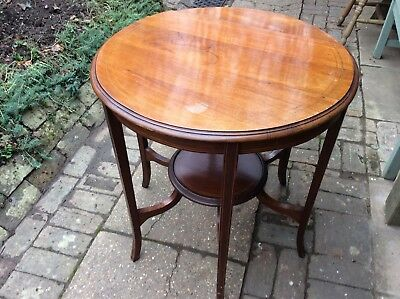 Ocassional Table, circular two tier inlaid mahogany. Edwardian.