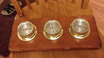 Vintage SUNBEAM WEATHER STATION Barometer Thermometer Humidity Wood wall hanging