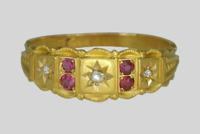 Victorian 15ct Gold Ruby & Old Cut Diamond Antique Etruscan Revival English Ring