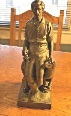 Bronze Sculpture of a Young Abraham Lincoln with Dog by George F Yostel NR