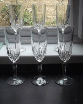 6 cut glass crystal champagne flutes