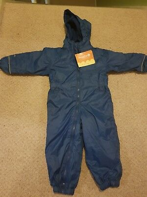 Regatta Waterproof Fleece Lined All-in-one Suit. Blue. Age 12-18 months