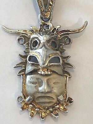 aztec mayan silver jewelry with gold dust contour. Rare.