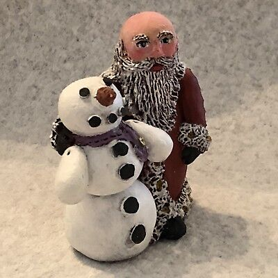 Gail Laura folk art Santa OOAK - ORIGINAL - SANTA WITH SNOWMAN - CLAY - SIGNED