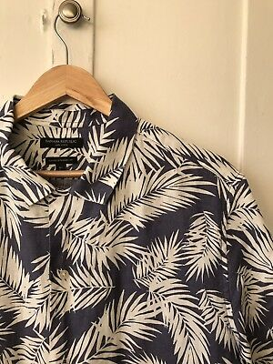 L TALL Banana Republic Mens Printed Linen Short Sleeve Shirt