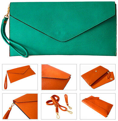 Turquoise Womens Oversize Clutch Bag Ladies Large Envelope Purse Evening Leather