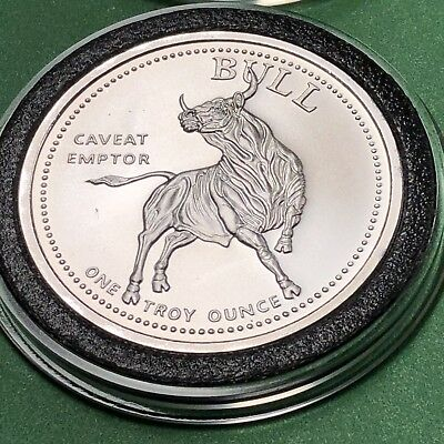 Bull Vs Bear Caveat Emptor 1 Troy Oz .999 Fine Silver Collectible Round Coin 999