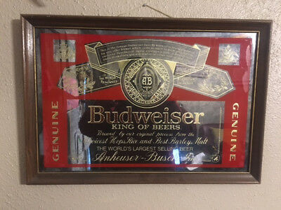 Vintage Budweiser Beer Glass Mirror Sign 1980's Era Beer Sign Wood Frame