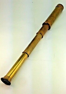 "Vintage Solid Brass English  4 Draw Maritime Nautical 15""Telescope Spyglass"
