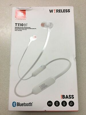 New Jbl T110Bt Wireless In-Ear Headphones Pure Bass Color: White