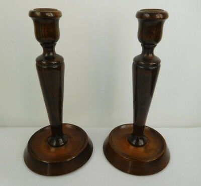 X2 Vintage Pair of Turned Wooden Oak Candlesticks 20cms High
