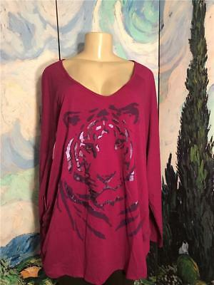 Just My Size Plus 5X New Purple Tiger Graphic Ruched Side Long Sleeve Tunic Top
