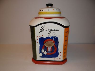 Large Nonnie's Biscotti Coffee Sugar Cookies Tea Covered Jar Colorful Crazing