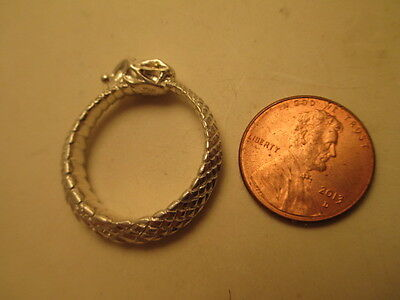 Large Sterling Silver Ouroboros Ring, 22K Eyes