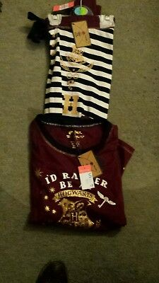 Ladies Harry Potter Pyjamas.  Button Front Top. Size Small. B.n.w.t