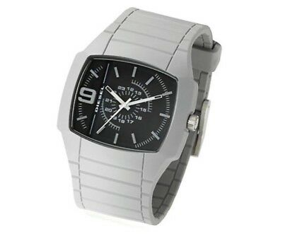 DIESEL DZ1329 Mens Grey Rubber Strap Watch, Black Dial NEW +WARRANTY