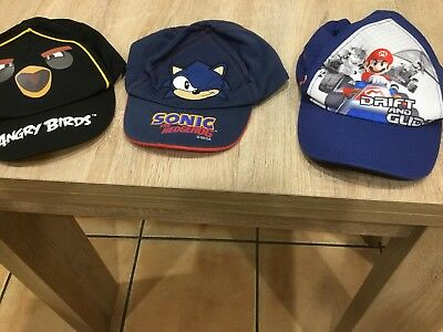 Boys Job Lot Of Holiday Shorts And Hats ..Sonic ...Angry Bird ..Scoby Doo!!
