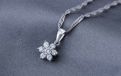 Rose Gold Flower Pendant 925 Sterling Silver Chain Necklace Women Jewellery Gift