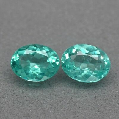 Pair 2pcs/1.64ct t.w Oval Natural Unheated Paraiba-Color Neon Blue Green Apatite