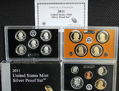 2011 United States Mint ANNUAL 14 Coin SILVER Proof Set Free Shipping in the USA