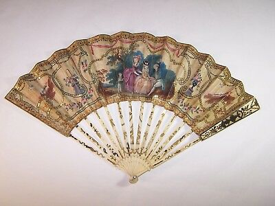 Rare antique 18thC french carved hand painted fan / precious chinese heads