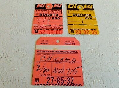 Rare! 1960's 1970's Vintage 3 Braniff International Baggage Tags Guayaquil !