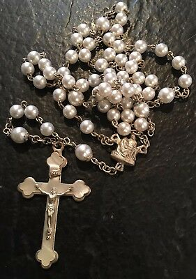 Vintage Faux Pearl Pieta Rosary Faux Mother Of Pearl Inlay On Cross