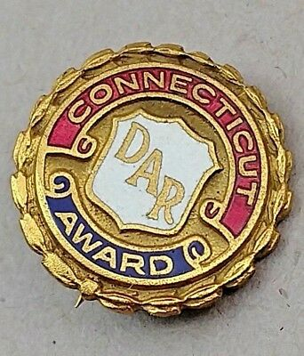 Vintage Gold Plated Enamel Connecticut Dar Award Pin