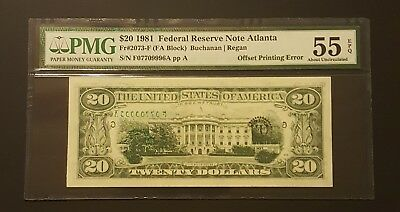 ( OFFSET PRINTING ERROR of SERIAL NUMBERS ) 1981 $20 NOTE, PMG 55EPQ ABOUT UNC