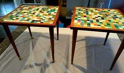 MCM Danish 2 Modern Italian tile mosaic accent coffee side tables Raymour teak