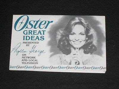 1978 Oster Appliance Health & Beauty Advertising Brochure Phyllis George