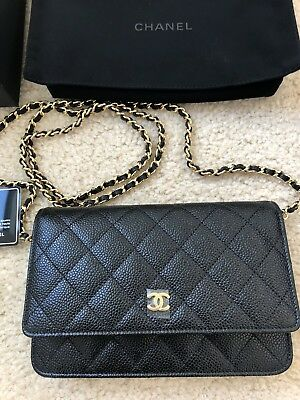 NEW Chanel WOC Black Caviar Quilted Gold Clutch Case Small Wallet On Chain bc15329f98eb3