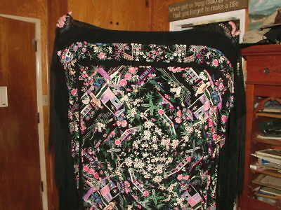 Vintage Chinese Elaborately Embroidered Silk Piano Scarf Shawl
