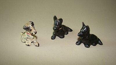 Lot Collection HUBLEY Cast Iron Miniature Dog Place Card Holder Holders