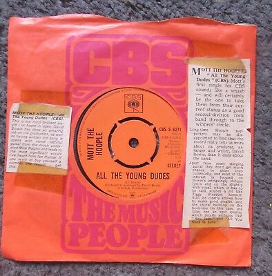 "Mott The Hoople ""all The Young Dudes""+""one Of The Boys"" 1972 Uk Vg+/vg+ Oop 7"""