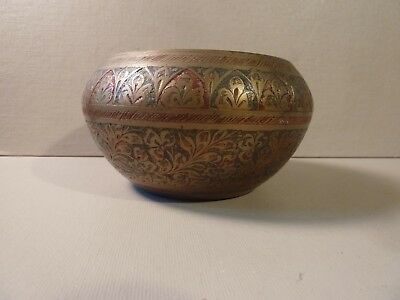 Vintage Solid Brass Painted Etched Decorative Bowl ~ Made in India