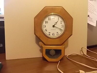 General Electric Vintage 1950's Mid-Century Wood Case Wall Clock Pendulum Mint!