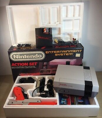 Nintendo Nes Action Set Console Complete Mario Duck Hunt Box Zapper Manual