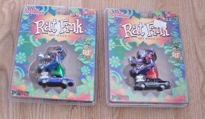 TWO Racing Champions RAT FINK MOD RODS Diecast with Figure Big Daddy Roth  MIP