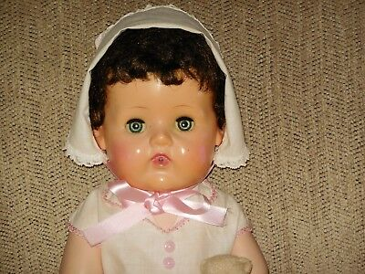 "Vtg. doll American Character tiny tears 18"", orig. outfit, full brn. hair/lashes"