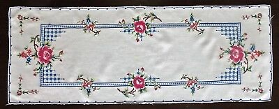 Vintage Hand Made Cross Stitch Roses Table Runner Doily